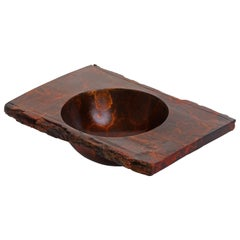 "Solid Bronze ""Zion"" Bowl or Vessel with Natural Edge and Red Patina, in Stock"