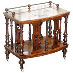Solid Burr Walnut Bronze Canterbury Music Stand Ornately Carved Wood, circa 1850
