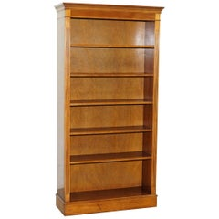 Solid Burr Yew Wood Library Legal Bookcase with Height Adjustable Shelves