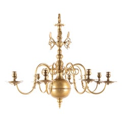 Solid Cast Brass Queen Anne Style Eight-Arm Chandelier with Rare Reflectors