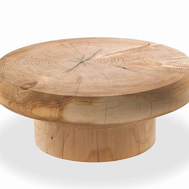 Solid Cedar Round Coffee Table For Sale At 1stdibs