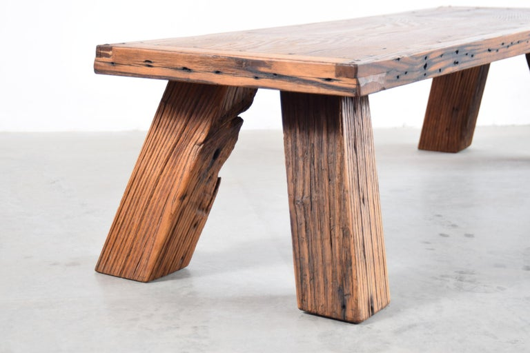 Solid Chestnut Coffee Table or Bench In Distressed Condition In Providence, RI