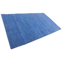 Solid Color Denim Blue Suede Modern Flat-Weave Handwoven Area Rug