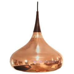 Solid Copper Orient Major Pendant by Jo Hammerborg for Fog & Morup Denmark, 1960