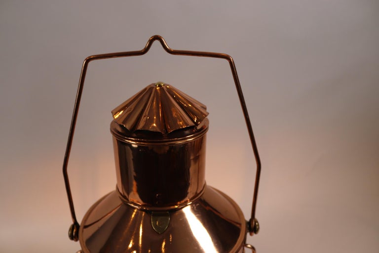 Solid Copper Ships Anchor Lantern In Fair Condition For Sale In Norwell, MA