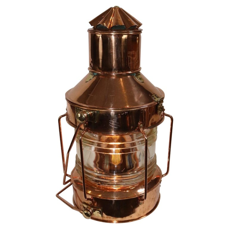 Solid Copper Ships Anchor Lantern For Sale