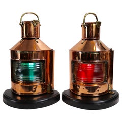 Solid Copper Ships Port and Starboard Lanterns