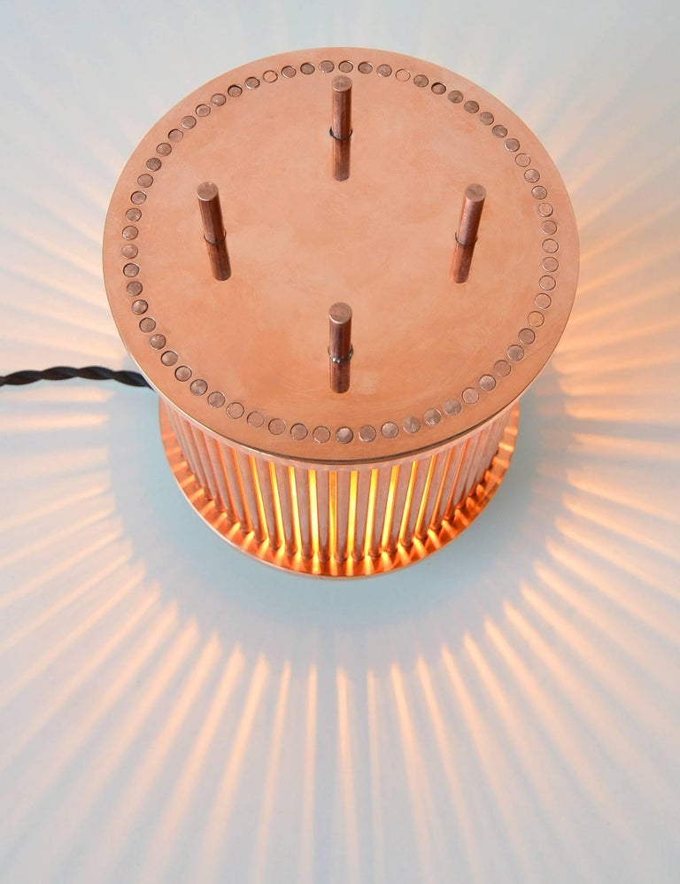 Modern Solid Copper Table Lamp For Sale