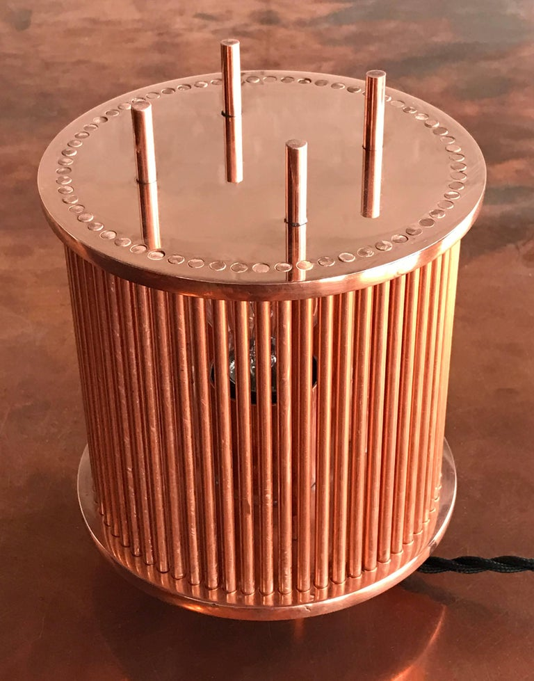 Canadian Solid Copper Table Lamp For Sale