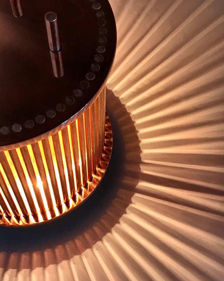 Polished Solid Copper Table Lamp For Sale