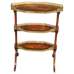 Solid Crotch Grain Walnut and Brass Trimmed English Regency Desert Stand Table