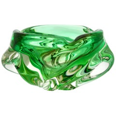 Solid Crystal Biomorphic Bowl with Waves of Bright Green and Sommerso