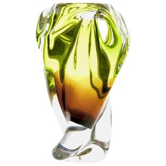 Solid Crystal Biomorphic Vase with Waves of Bright Green and Sommerso