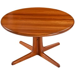 Solid Danish Modern Teak Round Pedestal Coffee Table
