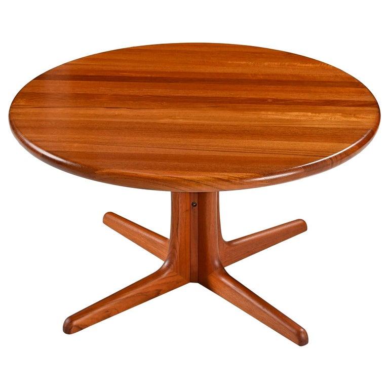 Solid Danish Modern Teak Round Pedestal Coffee Table For Sale
