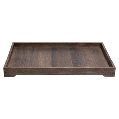 Solid Ebonized Oak Wood and Brass Tray for Barware or Ottoman Display or Jewelry