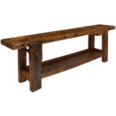 Solid Elm Antique French Workbench