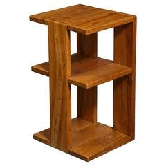 "Solid Elm ""Atlantica"" Telephone Table by Maison Regain, France, c. 1970"