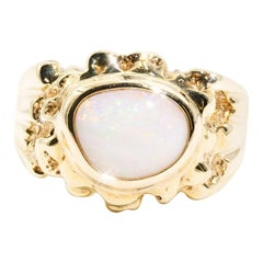 Solid Freeform Australian Opal 9 Carat Yellow Gold Mens Vintage Signet Ring