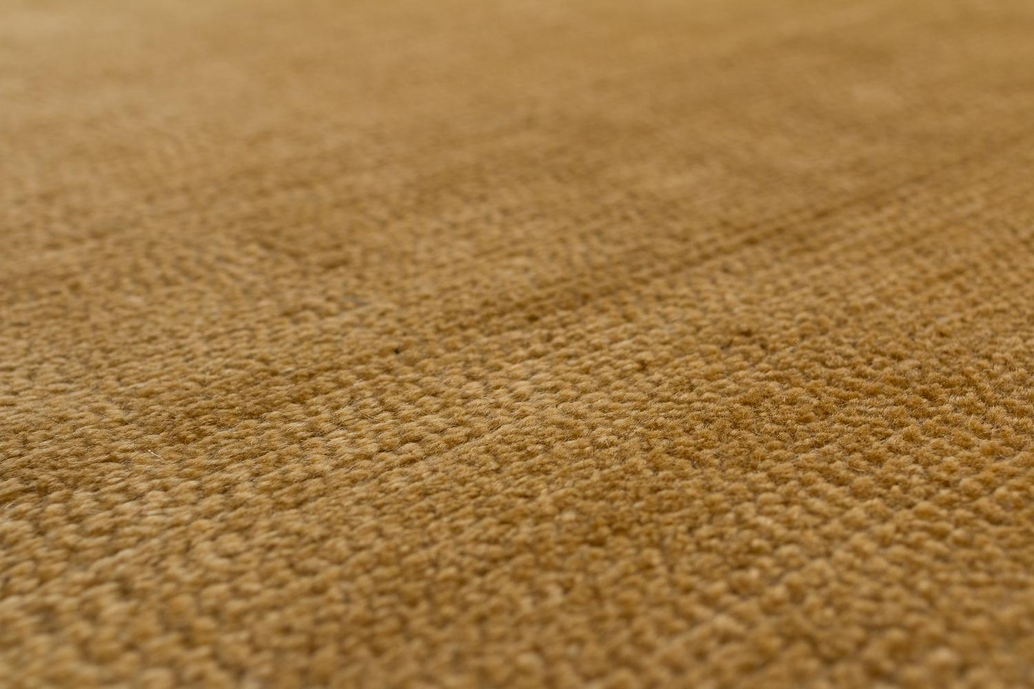 Solid Gold Handwoven Mohair Area Rug By