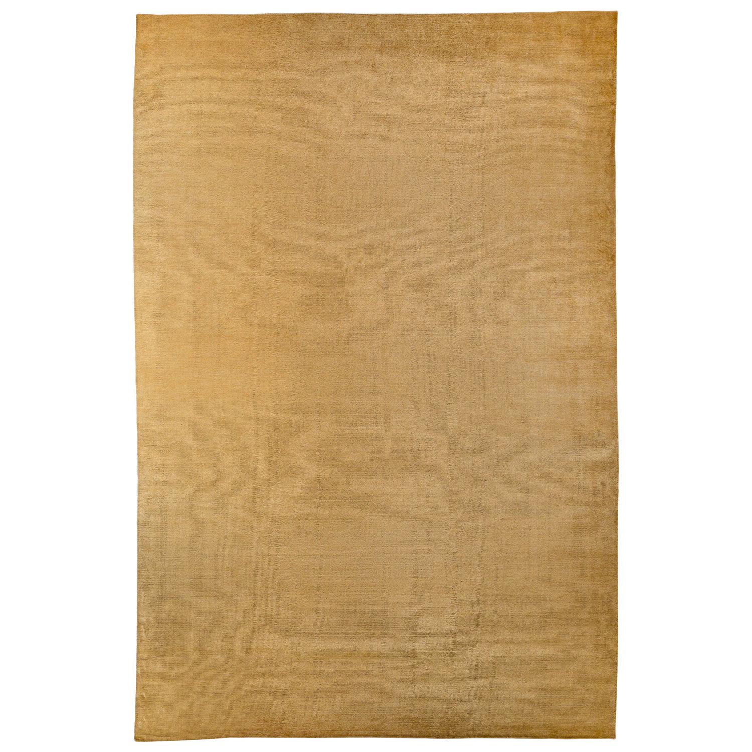Solid Gold Handwoven Mohair Area Rug by Carini