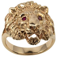 Solid Gold Lion Ring, Choice of Gemstones and Gold Color