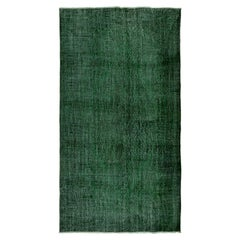 6x10.3 Ft Solid Green Color ReDyed Vintage Rug, Wool Turkish Carpet, Floor Cover