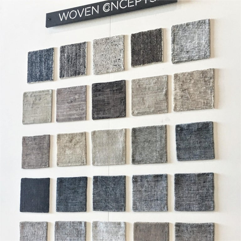 Solid Grey Hand-Loomed  Bamboo Silk Square Rug Like with Neutral Look - in Stock In New Condition For Sale In GREAT NECK, NY