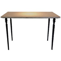 Solid Hammered Iron and Pink Marble-Top Console
