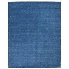 Solid Hand Knotted Area Rug in Blue Wool