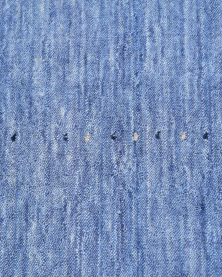 Minimalist Solid Hand Knotted Area Rug in Purple Wool For Sale