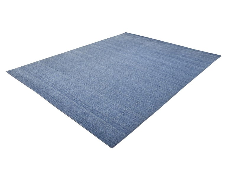 Solid Hand Knotted Area Rug in Purple Wool For Sale 1