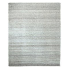 Solid Handmade Area Rug in Gray New Zealand Wool