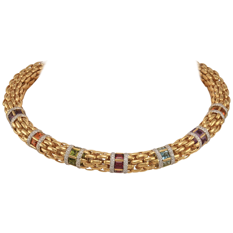 Solid Heavy 18 Karat Gold Multi-Color Gemstone Choker Necklace