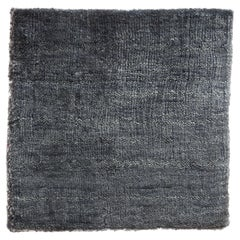 Solid Indigo Blue Hand-Loom Bamboo Silk Soft Neutral Rug in Square Shape 12'x12'