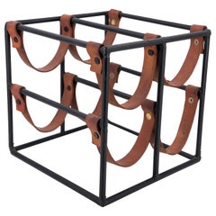 Solid Iron and Leather Four Bottle Capacity Wine Rack by Arthur Umanoff