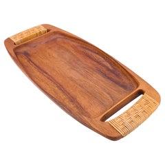 Solid Koa Wood Enlonged Gondola Tray with Woven Rattan Handles