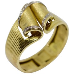 Solid Ladies Diamond Gold Bangle, Clamper.