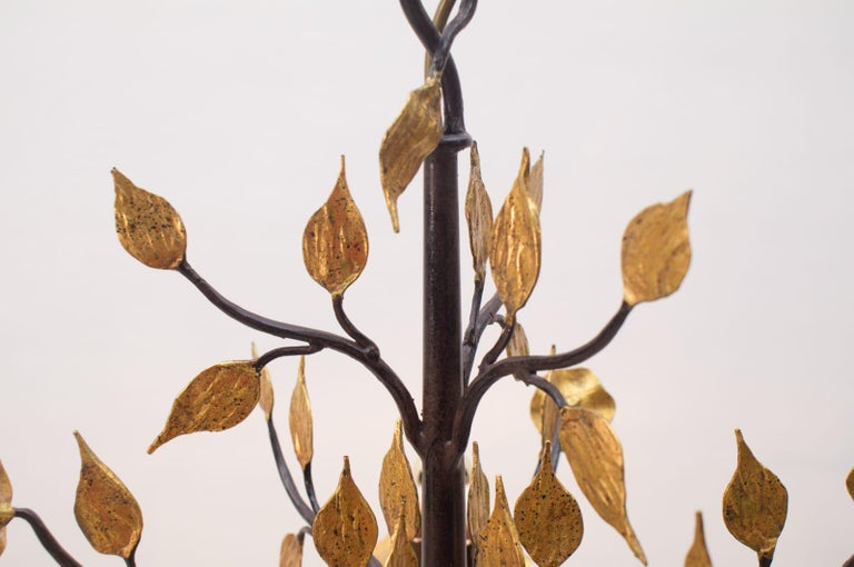 Cast Solid Large Wrought Iron Gold Leaf Hanging Lamp, 1970s France For Sale