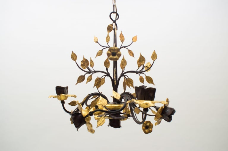 Solid Large Wrought Iron Gold Leaf Hanging Lamp, 1970s France In Good Condition For Sale In Nürnberg, Bayern