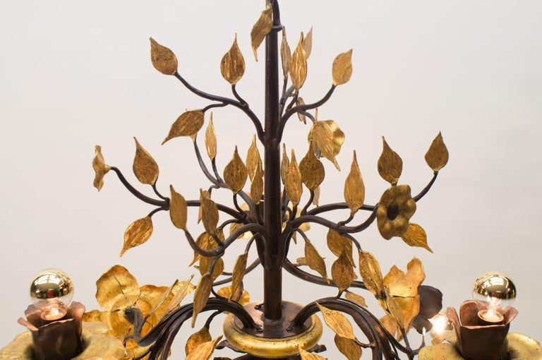 Late 20th Century Solid Large Wrought Iron Gold Leaf Hanging Lamp, 1970s France For Sale