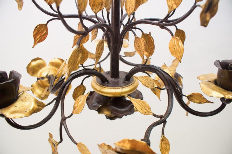 Solid Large Wrought Iron Gold Leaf Hanging Lamp, 1970s France For Sale 1