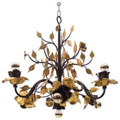 Solid Large Wrought Iron Gold Leaf Hanging Lamp, 1970s France