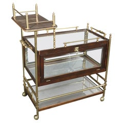 Solid Mahogany and Solid Brass French Directoire Rolling Tea Cart Liquor Trolley
