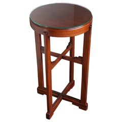 Solid Mahogany Arts & Crafts Pedestal Table or Stand with Perfect Glass Top