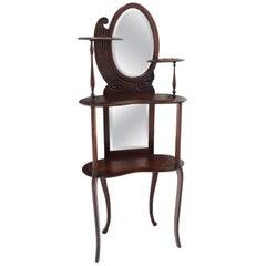 Solid Mahogany Organic Shape Oval Beveled Glass Staggered 4-Tier Étagère Shelf