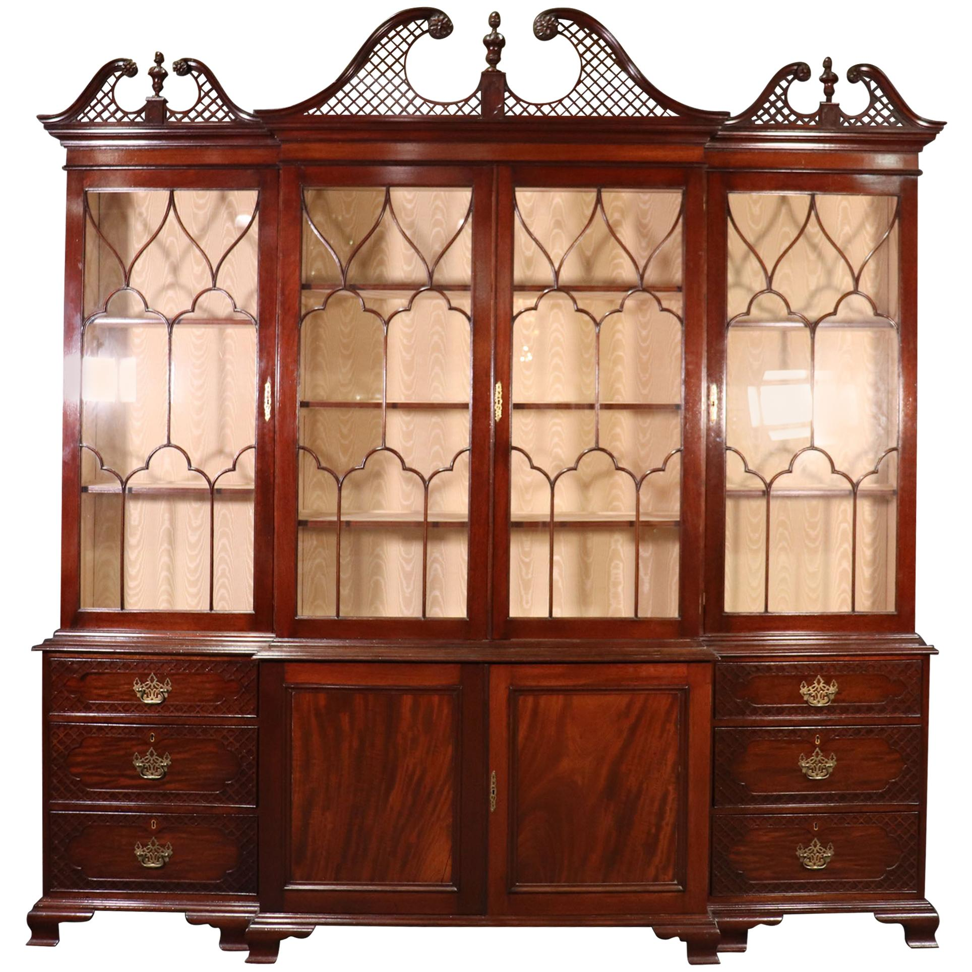 Solid Mahogany Sheraton Style Custom Made Multi Sectional Breakfront Bookcase