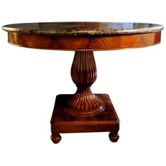 French 19th Century Solid Mahogany Round Table with Dark Emperador Marble Top