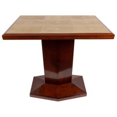 Solid Mahogany Tea Table with Shagreen Top
