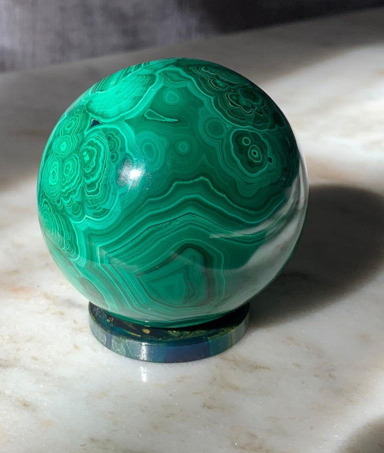 Mid-Century Modern Solid Malachite Sphere Paperweight on Malachite Disk For Sale